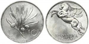 Italy 10 Lire 1947R Averse: Pegasus. Reverse: Olive branch divides value. Aluminum. (Mintage 12.000) KM 90...