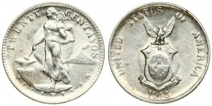 Philippines 20 Centavos 1945D Averse: Female standing beside hammer and anvil. Reverse...