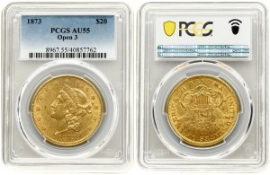 USA 20 Dollars 1873 Philadelphia. 'Liberty Head - Double Eagle' with motto 'TWENTY D'. Averse...