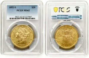 USA 20 Dollars 1892 S San Francisco. 'Liberty Head - Double Eagle' with motto 'TWENTY DOLLARS'. Averse...