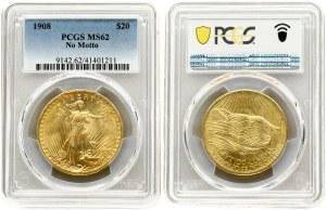 USA 20 Dollars 1908 Philadelphia. 'Saint-Gaudens - Double Eagle' no motto. Averse...