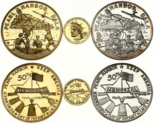 USA Medal 1991 GOLD PEARL HARBOR 50TH ANNIVERSARY PROOF SET. Hawaii mint. Gold. Silver. Bronze. - 3 Medal...