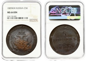 Russia 5 Kopecks 1809 KМ. Alexander I (1801-1825). Averse: Crowned double imperial eagle within circles. Reverse...