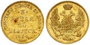 Russia 3 Roubles - 20 Zlotych 1834 СПБ-ПД St. Petersburg. Nicholas I (1826-1855). Averse...