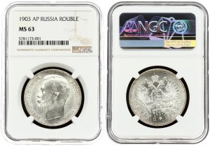 Russia 1 Rouble 1903 (AP) St. Petersburg. Nicholas II (1894-1917). Averse: Head left. Reverse...