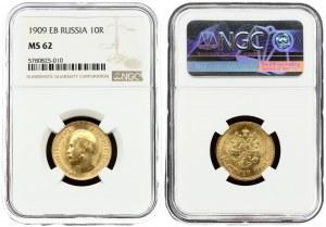 Russia 10 Roubles 1909 (ЭБ) St. Petersburg. Nicholas II (1894-1917). Averse: Head right. Reverse...