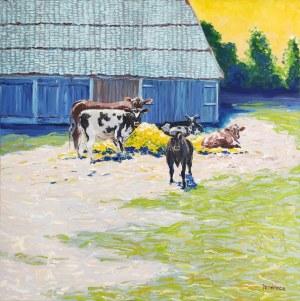 Pervin Ece Yakacik Leczycki (ur. 1991), Village scene with cows, 2021