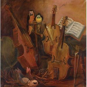 Krystyna GŁOWNIAK, TRIO, pastisz wg Breughla, 1988