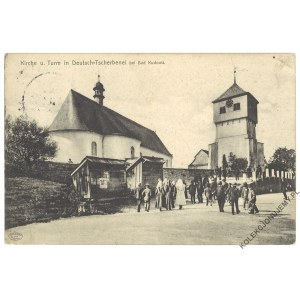 [KUDOWA-ZDRÓJ. Czermna] Kirche u. Turm in Deutsch-Tscherbenei bei Bad Kudowa