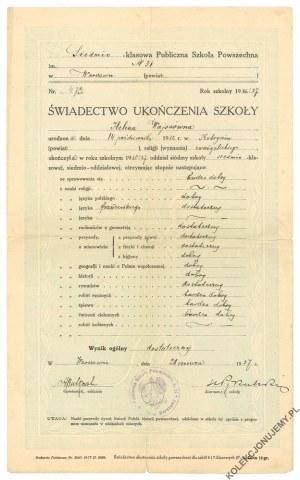 [WARSZAWA] Świadectwo ukończenia Publicznej Szkoły Powszechnej nr 31 w Warszawie, 1927