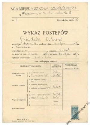 [WARSZAWA] Wykaz postępów w II. Miejskiej Szkole Rzemieślniczej w Warszawie, 1937