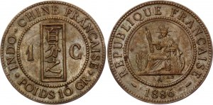 French Indochina 1 Centime 1886 A