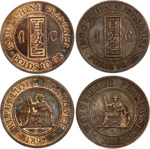 French Indochina 2 x 1 Centime 1892 A