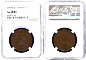 French Indochina 1 Centime 1894 A NGC AU 58 BN