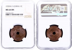 French Indochina 1 Centime 1939 A NGC MS 64 BN