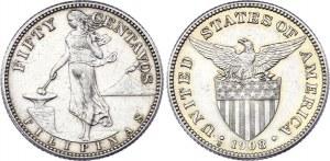 Philippines 50 Centavos 1908 S