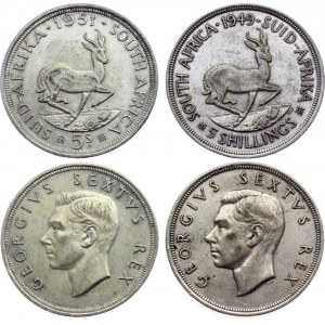 South Africa 2 x 5 Shillings 1949 & 1951