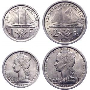 Saint Pierre & Miquelon 1 & 2 Francs 1948