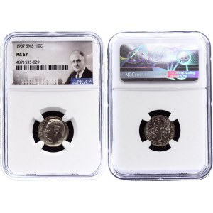 United States 1 Dime 1967 NGC MS 67