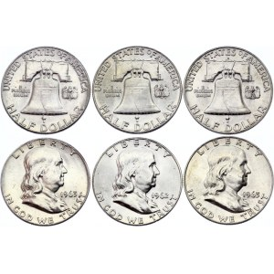 United States 3 x 1/2 Dollar 1962 - 1963