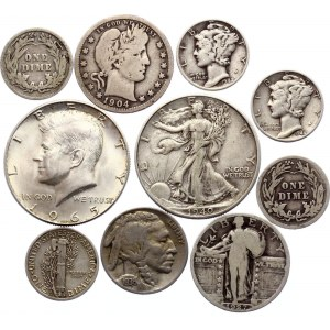 United States Lot of 10 Coins 1898 - 1965