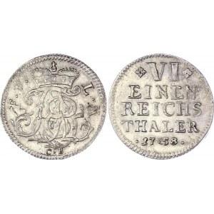 German States Fulda 1/6 Taler 1758 CB