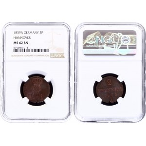 German States Hannover 2 Pfennige 1839 A NGC MS 62 BN