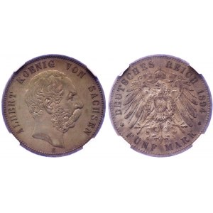 Germany - Empire Saxony-Albertine 5 Mark 1894 Е NGC XF45 Key Date