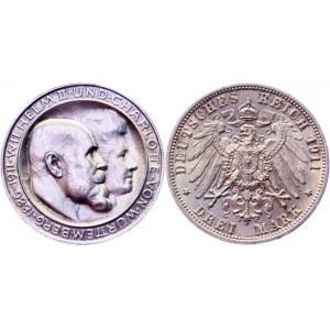 Germany - Empire Württemberg 3 Mark 1911 F