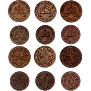 German East Africa 3 x 1/2 & 3 x 1 Heller 1904 - 1906