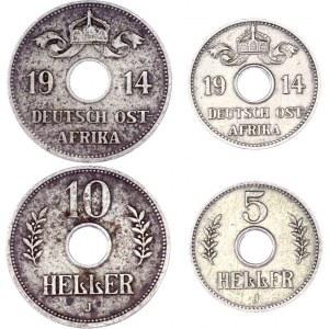 German East Africa 5 & 10 Heller 1914 J