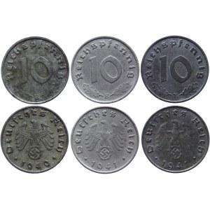 Germany - Third Reich 3 x 10 Reichspfennig 1940 - 1941 E