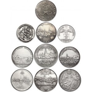 Germany Lot of 10 Silver Coins & Medals Replicas 20th Century