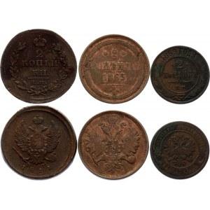 Russia 3 x 2 Kopeks 1811 - 1869