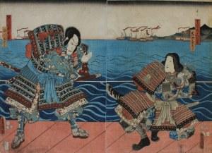 Utagawa Kunisada, Kumagaya Jirō Naozane i Mukan no Tayū Atsumori - dyptyk
