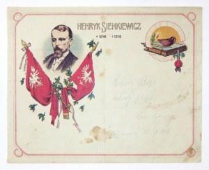 HENRYK Sienkiewicz. Druk barwny na ark. 21,2x26,5 cm.
