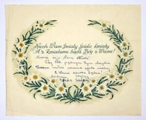 NIECH Wam Światy ścielą kwiaty / A z kwiatami bądź Bóg z Wami! Druk dwubarwny na ark. 22,...