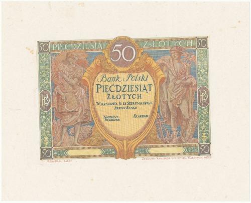 DRUK PRÓBNY awersu 50 zł 1925
