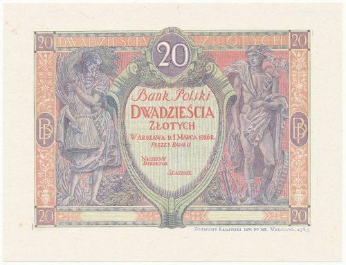 DRUK PRÓBNY awersu 20 zł 1926