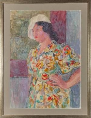 Leonard PĘKALSKI ( 1896-1944), Studium portretowe - p. Wanda  w kwiecistej sukni