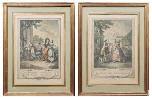 Artysta nieokreślony, francuski, XVIII w., Para rycin: Spacer poranny, Spacer wieczorny