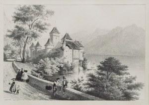 Artysta nieokreślony, XIX w., Widok Zamku Chillon nad Jeziorem Genewskim