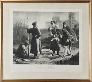 Wojciech GERSON (1831-1901) - według, heliograwiura Victor ANGERAR? (1839-1894), Sobieski we Wilanowie [sic!] - Jan III Sobieski sadzący drzewa w Wilanowie