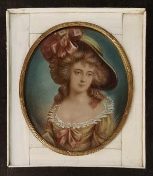 Autor nieokreślony, Portret damy w manierze malarstwa Thomasa Gainsborough - miniatura
