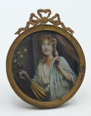 Malarz nieokreślony (XIX/XX W.), Kobieta z mandoliną - miniatura