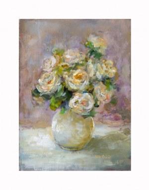 Urszula Miącz-Sobieraj, Róże w białym wazoniku, 2020