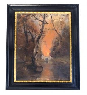 Julij Klever, Pejzaż z mostkiem o zachodzie słońca