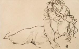 Egon SCHIELE (1890 - 1918), Sich aufstutzender weiblicher..., 2000