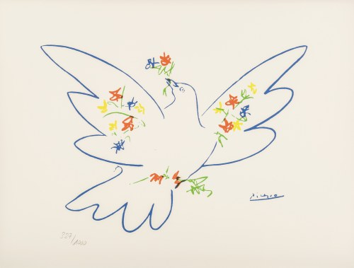 Pablo PICASSO (1881 - 1973), Colombe Bleue with a flower, 1980