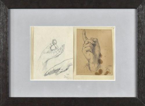 Tadeusz RYBKOWSKI (1848-1926), Studia dłoni - zestaw dwóch prac ujęte w jedną oprawę, 1887